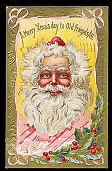 Gorgeous Santa Claus Profile 1910 Postcard