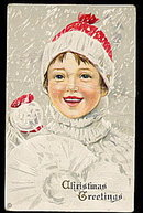 Lovely Boy with Snowball 1908 Postcard