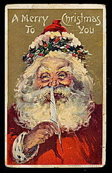 Santa Claus with Pen in Holly Postcard - Nice