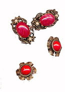 2 Sets of Red Glass & Metal Early Earrings