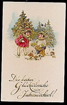 Lovely 1904 Christmas Children in Gilt Postcard