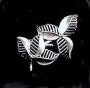"TRIFARI 2 1/2"" Silvertone Leaves Vintage Brooch"