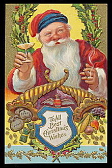 Santa Claus Toasting w Champagne Postcard