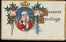 Santa Claus Blowing Horn 1910 Postcard