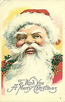 Santa Claus with Fur Hat Head Postcard ca 1915
