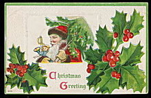 Santa Claus with Holly 1912 Postcard