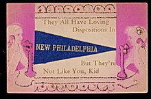 1913 New Philadelphia, OH Felt Flag Postcard