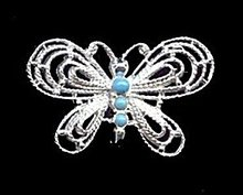 Gerry's Blue & Silvertone Vintage Butterfly Pin