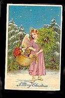 A Merry Christmas Angel 1911 Postcard