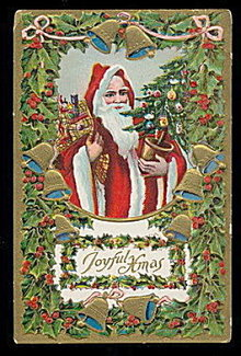 Santa Claus Holding Tree 1910 Postcard