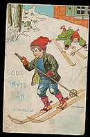Jenny Nystrom 1912 Child Skiing Postcard