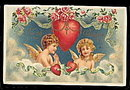 Gorgeous Cherubs with Hearts 1909 Postcard