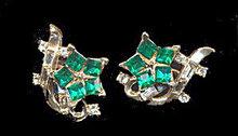 Stunning Green & White Flower Glass Earrings