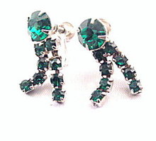 Vintage Green Rhinestone Dangle Earrings