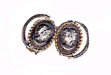 Gorgeous Grey Glass Carved Cameo Earrings