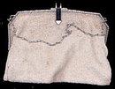 Lovely White Glass Beaded Handbag - Vintage