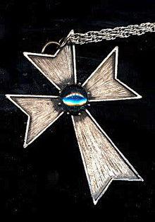 Large Stone & Silvertone Cross Pendant Necklace