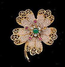 BSK Intricate Stones Floral Vintage Brooch/Pin