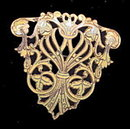 Vintage Metal with Enameled Shield Brooch
