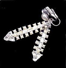 "Vintage White Dangle 2 1/4"" Rhinestone Earrings"