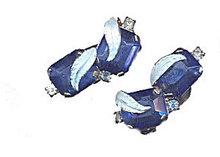 Gorgeous Blue Glass Berry/Leaf Earrings
