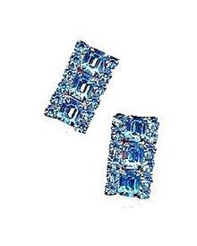 Gorgeous Square Blue Rhinestone Earrings