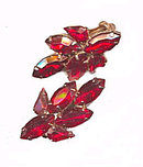 Lovely Red Glass/Crystal Earrings - Old