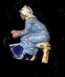Johillco Lead Blue Milk Maid on Stool
