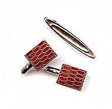 Goldtone & Brown Insets Cufflinks & Tie Clasp