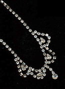 "Vintage Rhinestone w Dangles 14"" Choker Necklace"