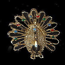 Goldtone Peacock Pin with Stones Brooch - Vintage