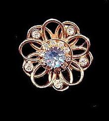 Vintage Coro Blue Glass w Stones Scarf Clip