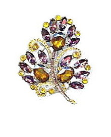 "Lovely 3 1/4"" Vintage Brown Stones Leaf Brooch"