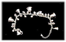 Lovely Avon Silvertone Bell & Clear Glass Bracelet