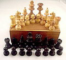 Old Wooden Chess Pieces in Box