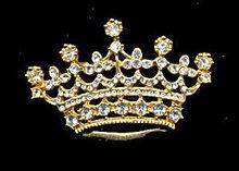 """Vintage 2 1/4""""  Crown with Rhinestones Brooch"""
