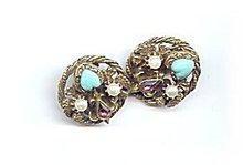 Lovely Blue Heart w Faux Pearl Earrings