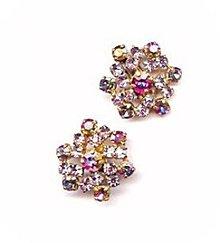 """Lovely 1 1/2"""" Purple Glass Flower Earrings"""