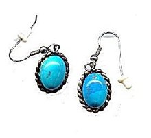 Lovely Sterling Silver with Blue Glass Earrings
