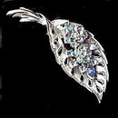 "Vintage 3"" Coro Blue Stones Leaf Brooch"
