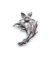 "Lovely 2"" Sterling Silver Flower Brooch"