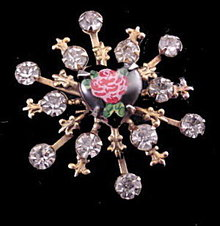 Lovely Vintage Rhinestone with Glass Rose Pin