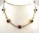 Vintage Goldtone & Black Glass Circle Choker Necklace