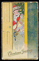 Santa Claus Peeking in Door 1909 Postcard