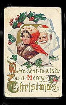 Great Santa Claus & Woman 1912 Postcard