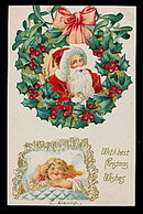 Great Santa Claus w Girl Sleeping 1912 Postcard