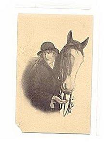 1907 Schlesinger Bros Girl & Horse Postcard