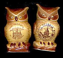 Vintage Japan OWL Figural Georgia/NOLA S & Ps
