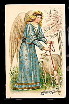 Lovely 1910 ASB Germany Easter Angel Postcard
