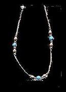 Lovely Silver Hollow Bead w Blue Stones Bracelet